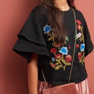 Anthropologie Moon River Morelia Embroidered Top